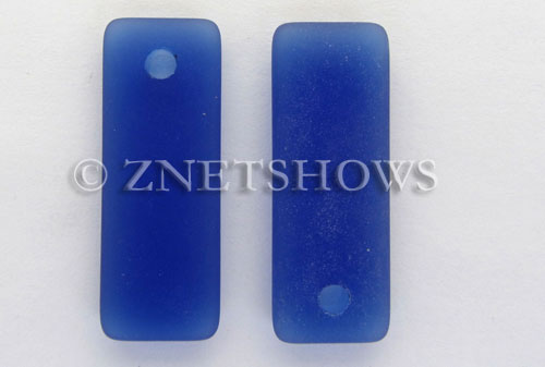 Cultured Sea Glass rectangle puffed Pendants  <b>32x12mm</b> 33-Royal Blue    per  <b>8-pc-bag</b>