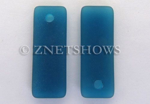 Cultured Sea Glass rectangle puffed Pendants  <b>32x12mm</b> 82-Teal    per  <b>8-pc-bag</b>