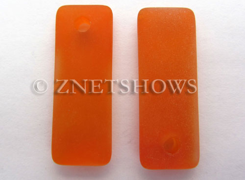 Cultured Sea Glass rectangle puffed Pendants  <b>32x12mm</b> 83-Tangerine    per  <b>8-pc-bag</b>