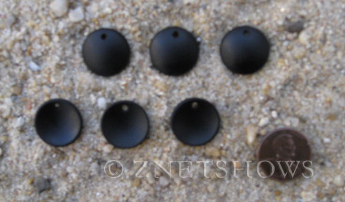 Cultured Sea Glass concaved coin Pendants  <b>18mm</b> 02-Jet Black concaved - earring size   per  <b>6-pc-bag</b>