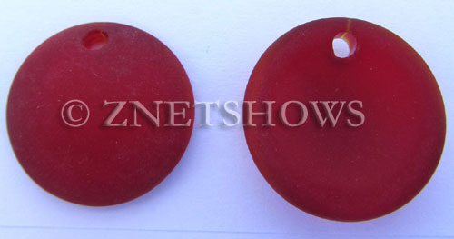 Cultured Sea Glass concaved coin Pendants  <b>25mm</b> 05-Cherry Red Bottle bottom style  per  <b>12-pc-bag</b>