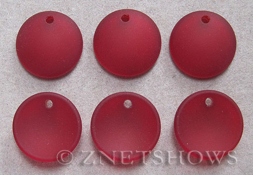 Cultured Sea Glass concaved coin Pendants  <b>18mm</b> 05-Cherry Red concaved - earring size   per  <b>6-pc-bag</b>