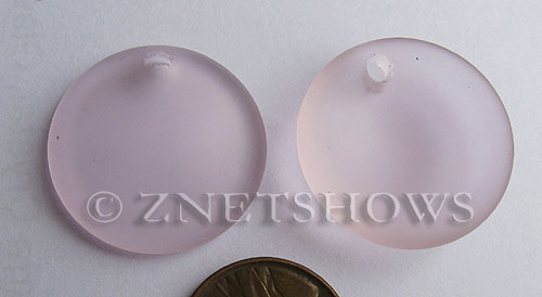 Cultured Sea Glass concaved coin Pendants  <b>25mm</b> 06-Blossom Pink Bottle bottom style  per  <b>12-pc-bag</b>