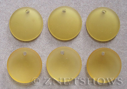 Cultured Sea Glass concaved coin Pendants  <b>18mm</b> 16-Desert Gold concaved - earring size   per  <b>6-pc-bag</b>
