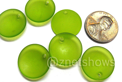 Cultured Sea Glass concaved coin Pendants  <b>18mm</b> 22-Olive earring size   per  <b>6-pc-bag</b>