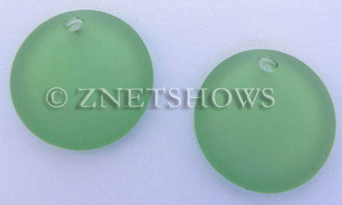 Cultured Sea Glass concaved coin Pendants  <b>25mm</b> 23-Peridot Bottle bottom style  per  <b>12-pc-bag</b>