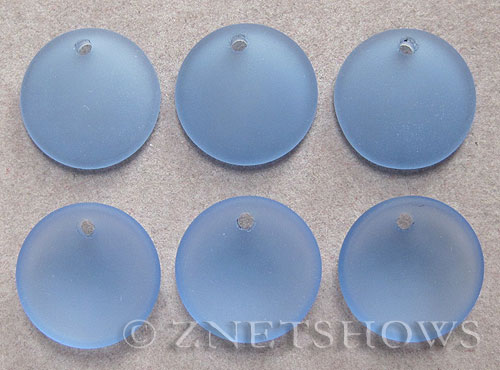 Cultured Sea Glass concaved coin Pendants  <b>18mm</b> 31-Light Sapphire concaved - earring size   per  <b>6-pc-bag</b>