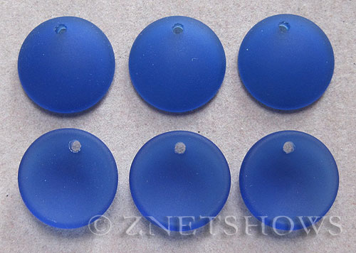 Cultured Sea Glass concaved coin Pendants  <b>18mm</b> 33-Royal Blue concaved - earring size   per  <b>6-pc-bag</b>