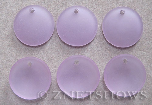 Cultured Sea Glass concaved coin Pendants  <b>18mm</b> 39-Periwinkle Changes concaved - earring size   per  <b>6-pc-bag</b>