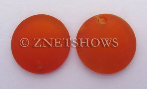Cultured Sea Glass concaved coin Pendants  <b>25mm</b> 83-Tangerine Bottle bottom style  per  <b>12-pc-bag</b>