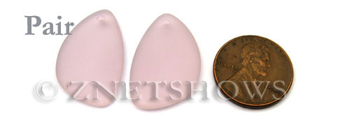 Cultured Sea Glass eclipse Pendants  <b>25x17mm</b> 06-Blossom Pink   per  <b>pair</b>