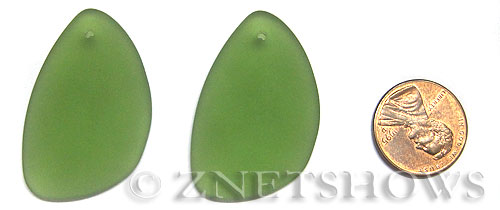 Cultured Sea Glass eclipse Pendants  <b>36x24mm</b> 25-Shamrock teardrop nugget   per  <b>piece</b>