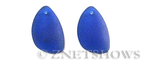 Cultured Sea Glass eclipse Pendants  <b>25x17mm</b> 33-Royal Blue teardrop nugget matching earring left side   per  <b>10-pc-pack</b>