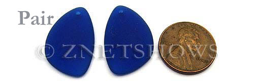 Cultured Sea Glass eclipse Pendants  <b>25x17mm</b> 33-Royal Blue   per  <b>pair</b>