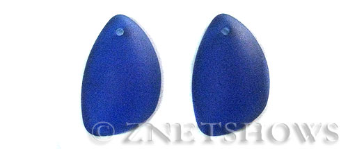 Cultured Sea Glass eclipse Pendants  <b>25x17mm</b> 33-Royal Blue teardrop nugget matching earring right side   per  <b>10-pc-pack</b>