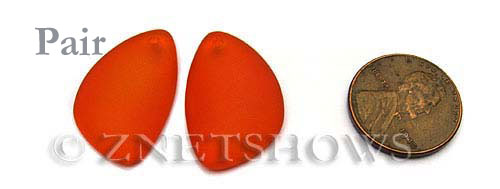Cultured Sea Glass eclipse Pendants  <b>25x17mm</b> 83-Tangerine   per  <b>pair</b>