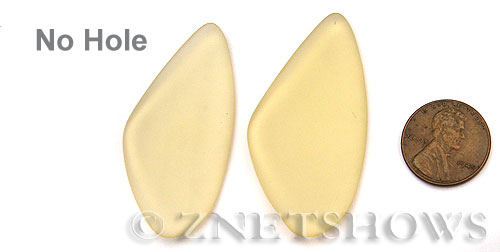 Cultured Sea Glass wire-wrapping Pendants  <b>53x22mm</b> 84-Lemon triangle - no hole   per  <b>piece</b>