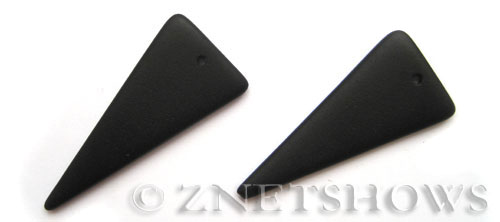 Cultured Sea Glass shield Pendants  <b>48x21mm</b> 02-Jet Black triangle   per  <b>piece</b>