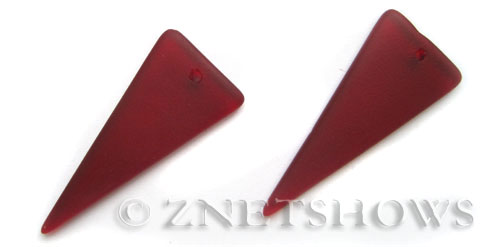 Cultured Sea Glass shield Pendants  <b>48x21mm</b> 05-Cherry Red triangle   per  <b>piece</b>