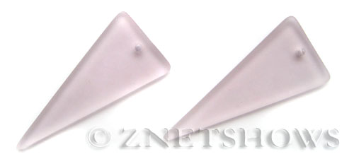 Cultured Sea Glass shield Pendants  <b>48x21mm</b> 06-Blossom Pink triangle   per  <b>piece</b>