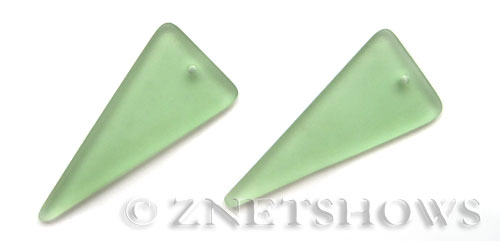 Cultured Sea Glass shield Pendants  <b>48x21mm</b> 23-Peridot triangle   per  <b>piece</b>