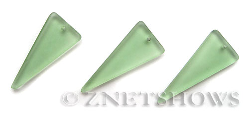 Cultured Sea Glass shield Pendants  <b>37x15mm</b> 23-Peridot triangle   per  <b>10-pc-bag</b>