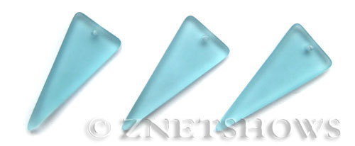 Cultured Sea Glass shield Pendants  <b>37x15mm</b> 28-Turquoise Bay triangle   per  <b>10-pc-bag</b>