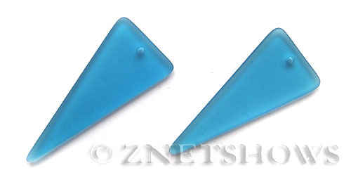 Cultured Sea Glass shield Pendants  <b>48x21mm</b> 30-Pacific Blue triangle   per  <b>piece</b>