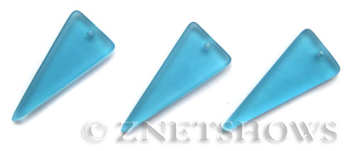 Cultured Sea Glass shield Pendants  <b>37x15mm</b> 30-Pacific Blue triangle   per  <b>10-pc-bag</b>