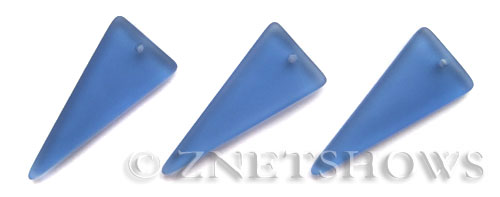 Cultured Sea Glass shield Pendants  <b>37x15mm</b> 31-Light Sapphire triangle   per  <b>10-pc-bag</b>