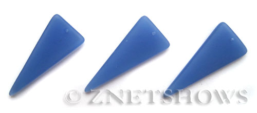 Cultured Sea Glass shield Pendants  <b>37x15mm</b> 47-Opaque Sky Blue triangle   per  <b>10-pc-bag</b>