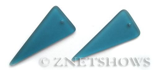 Cultured Sea Glass shield Pendants  <b>48x21mm</b> 82-Teal triangle   per  <b>piece</b>