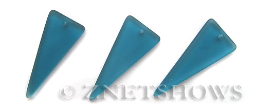 Cultured Sea Glass shield Pendants  <b>37x15mm</b> 82-Teal triangle   per  <b>10-pc-bag</b>