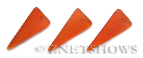 Cultured Sea Glass shield Pendants  <b>37x15mm</b> 83-Tangerine triangle   per  <b>10-pc-bag</b>