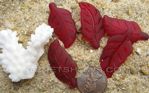 Cultured Sea Glass leaf Pendants  <b>33x17mm</b>  05-Cherry Red    per  <b>5-pc-bag</b>