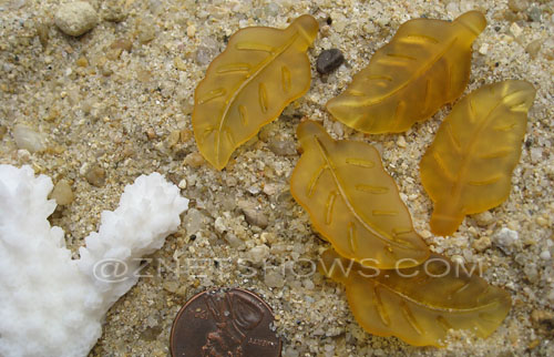 Cultured Sea Glass leaf Pendants  <b>33x17mm</b>  16-Desert Gold    per  <b>5-pc-bag</b>