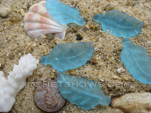 Cultured Sea Glass leaf Pendants  <b>33x17mm</b>  28-Turquoise Bay    per  <b>5-pc-bag</b>