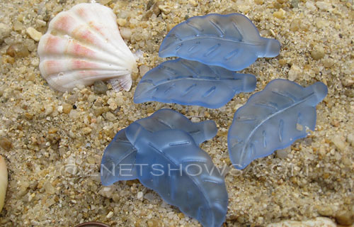 Cultured Sea Glass leaf Pendants  <b>33x17mm</b>  31-Light Sapphire    per  <b>5-pc-bag</b>