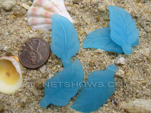 Cultured Sea Glass leaf Pendants  <b>33x17mm</b>  46-Opaque Blue Opal    per  <b>5-pc-bag</b>