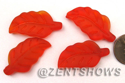 Cultured Sea Glass leaf Pendants  <b>33x17mm</b> 83-Tangerine    per  <b>5-pc-bag</b>