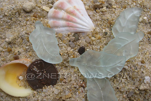 Cultured Sea Glass leaf Pendants  <b>33x17mm</b>  88-Light Aqua `Coke` bottle Seafoam    per  <b>5-pc-bag</b>