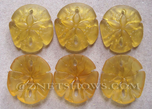 Cultured Sea Glass sand dollar Pendants  <b>21x19mm</b> 16-Desert Gold earring size   per  <b>6-pc-bag</b>