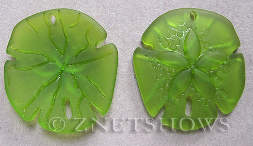 Cultured Sea Glass sand dollar Pendants  <b>40x36mm</b> 22-Olive large    per  <b>2-pc-bag</b>