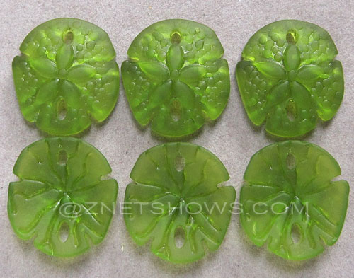 Cultured Sea Glass sand dollar Pendants  <b>21x19mm</b> 22-Olive earring size   per  <b>6-pc-bag</b>