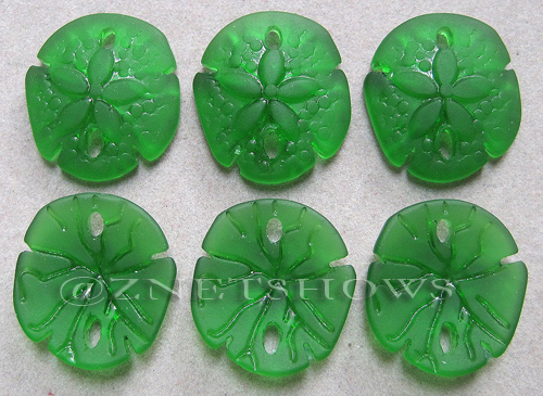 Cultured Sea Glass sand dollar Pendants  <b>21x19mm</b> 25-Shamrock earring size   per  <b>6-pc-bag</b>