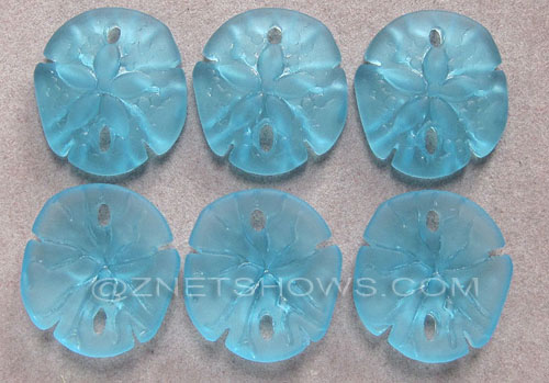 Cultured Sea Glass sand dollar Pendants  <b>21x19mm</b> 28-Turquoise Bay earring size   per  <b>6-pc-bag</b>