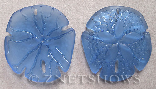 Cultured Sea Glass sand dollar Pendants  <b>40x36mm</b> 31-Light Sapphire large    per  <b>2-pc-bag</b>
