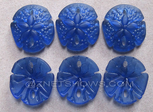 Cultured Sea Glass sand dollar Pendants  <b>21x19mm</b> 33-Royal Blue earring size   per  <b>6-pc-bag</b>