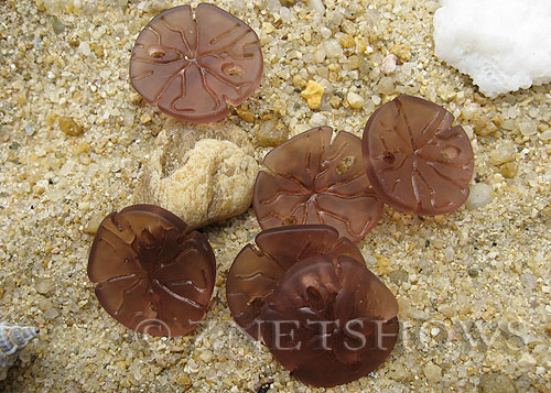 Cultured Sea Glass sand dollar Pendants  <b>21x19mm</b> 37-Medium Amethyst earring size   per  <b>6-pc-bag</b>