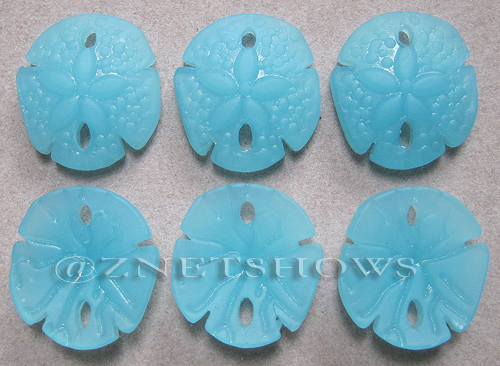 Cultured Sea Glass sand dollar Pendants  <b>21x19mm</b>  46-Opaque Blue Opal earring size   per  <b>6-pc-bag</b>